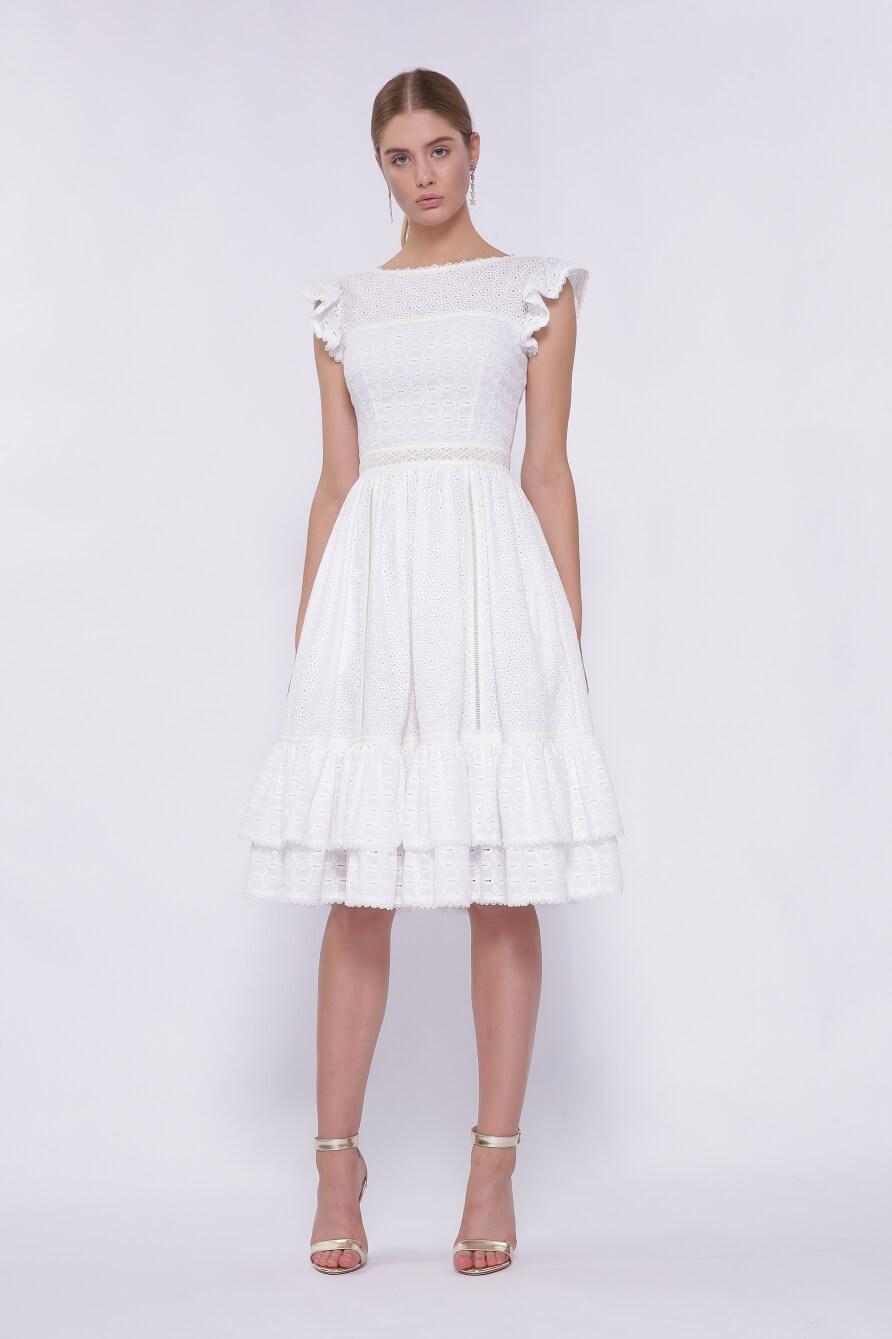Белое узорчатое платье от Isabel Garcia