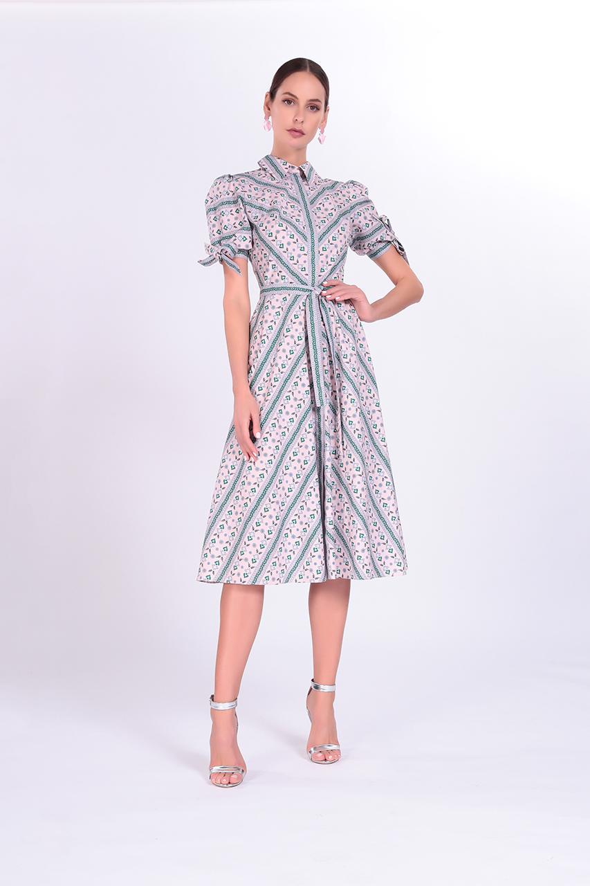 платье средней длины из 100% натурального хлопка