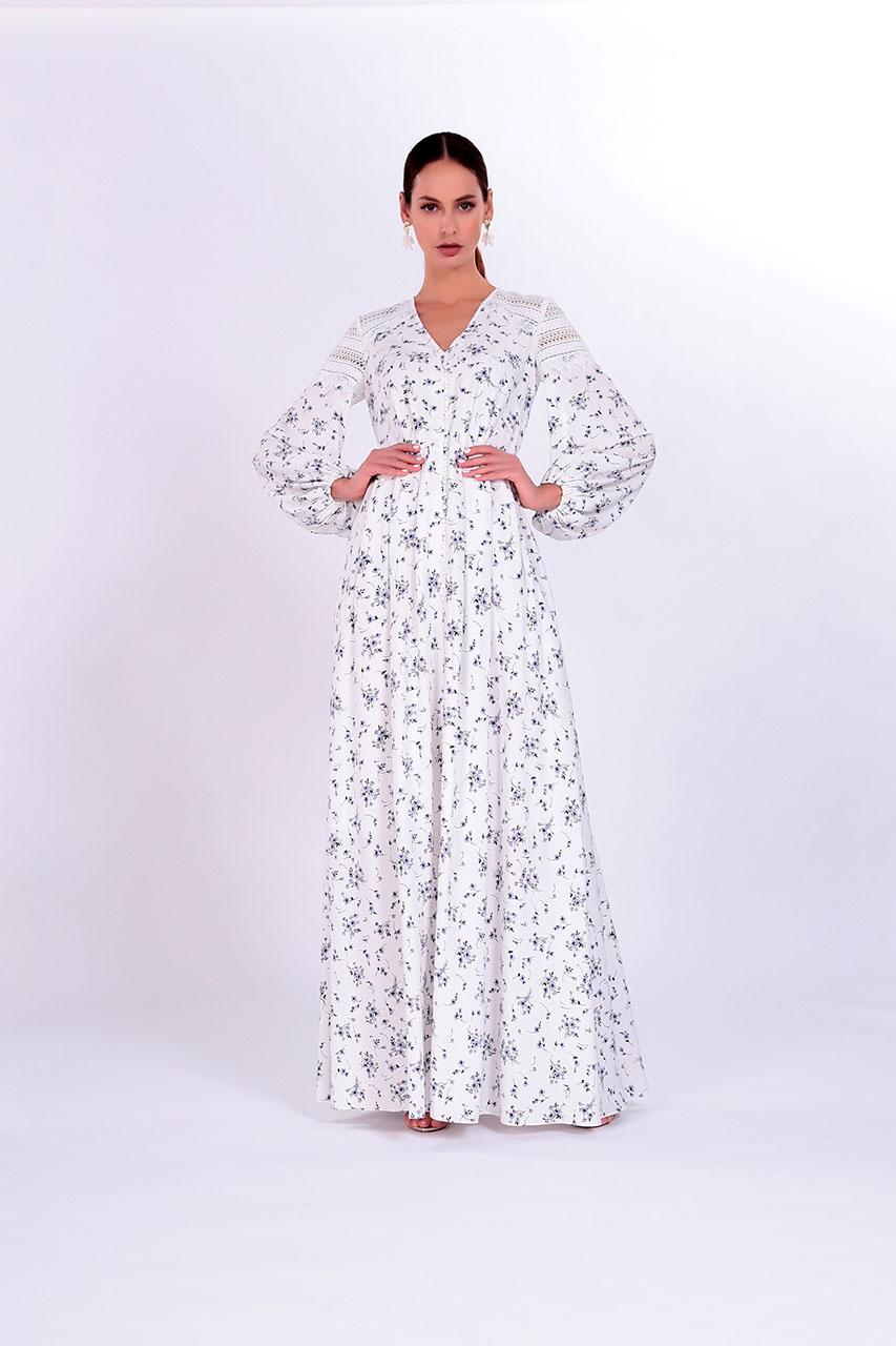 Летнее длинное платье из Ramie из и хлопка