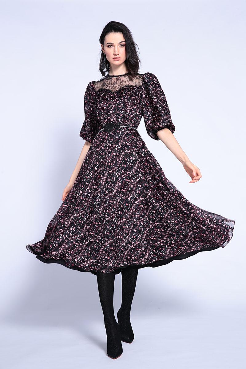 Платье средней длины с рукавами-фонариками